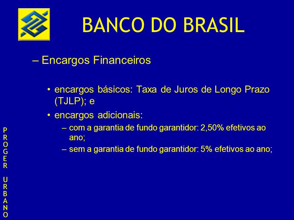 BANCO DO BRASIL –Encargos Financeiros encargos básicos: Taxa de Juros de Longo Prazo (TJLP); e encargos adicionais: –com a garantia de fundo garantido