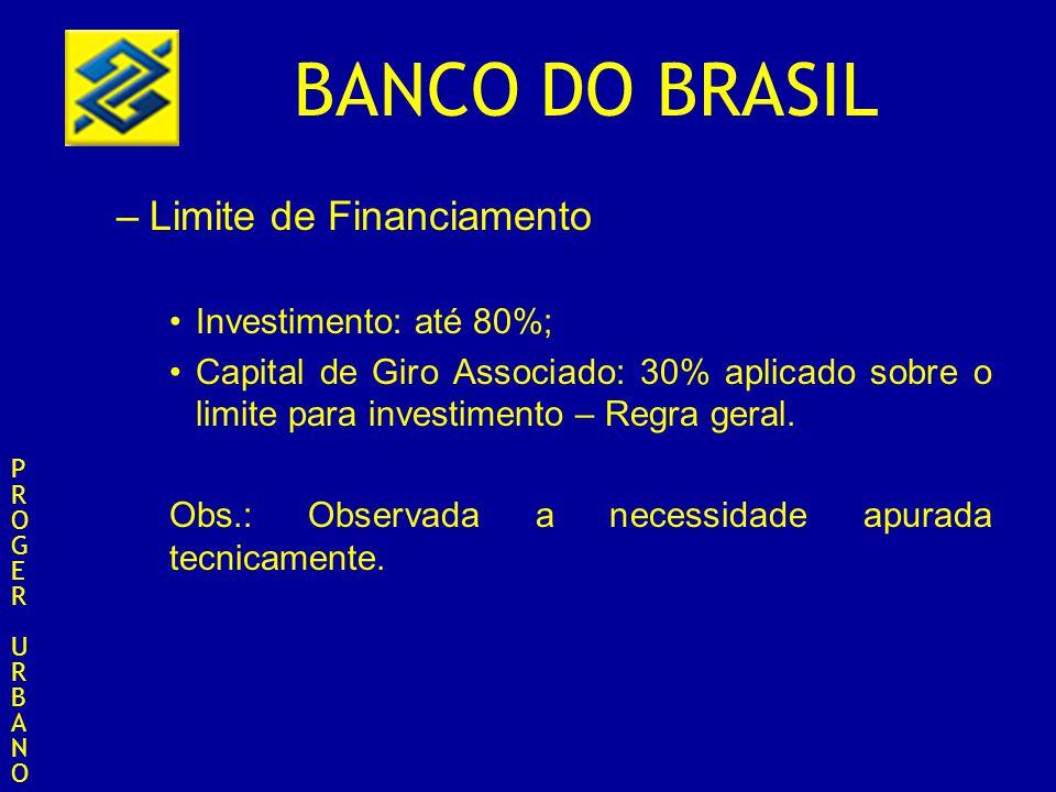 BANCO DO BRASIL –Limite de Financiamento Investimento: até 80%; Capital de Giro Associado: 30% aplicado sobre o limite para investimento – Regra geral