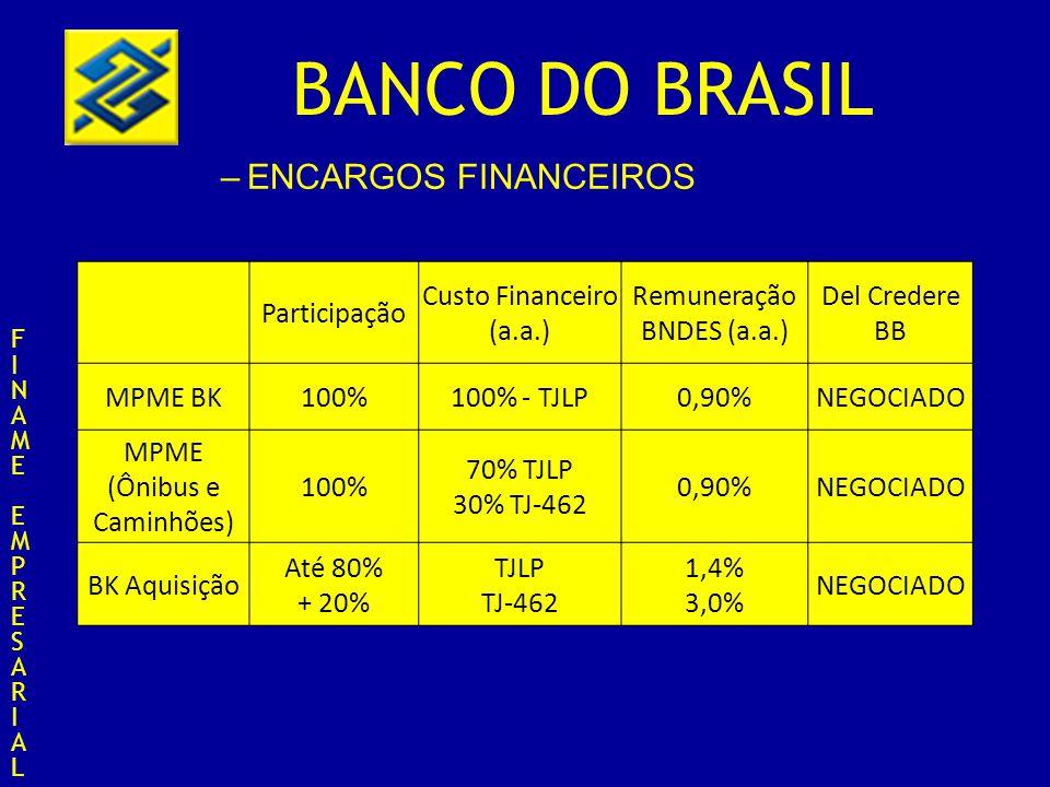 BANCO DO BRASIL –ENCARGOS FINANCEIROS FINAMEEMPRESARIALFINAMEEMPRESARIAL Participação Custo Financeiro (a.a.) Remuneração BNDES (a.a.) Del Credere BB BK AQUISIÇÃO (Ônibus e Caminhões Até 80% +20% 70% - TJLP 30% TJ-462 TJ-462 1,40% 3,0% NEGOCIADO BK PRODUÇÃO 100%TJ-4623,00%NEGOCIADO BK Concorrência Internacional 100%TJLP1,40%NEGOCIADO