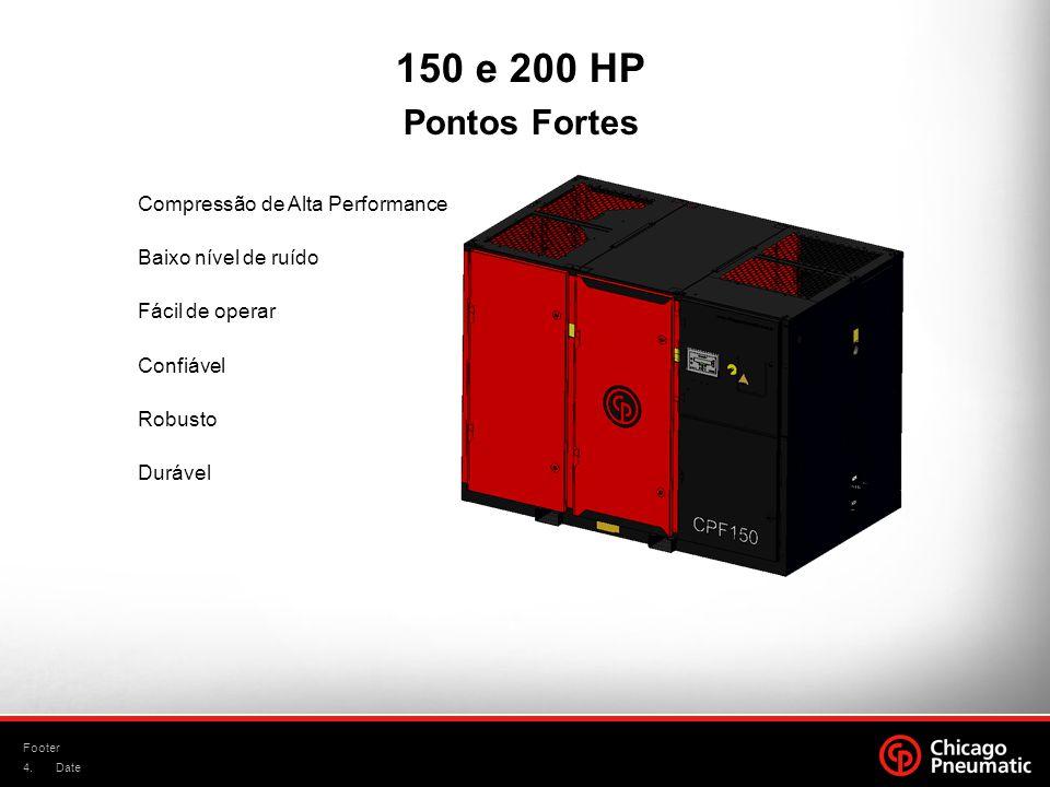 4. Footer Date Compressão de Alta Performance Baixo nível de ruído Fácil de operar Confiável Robusto Durável Pontos Fortes 150 e 200 HP