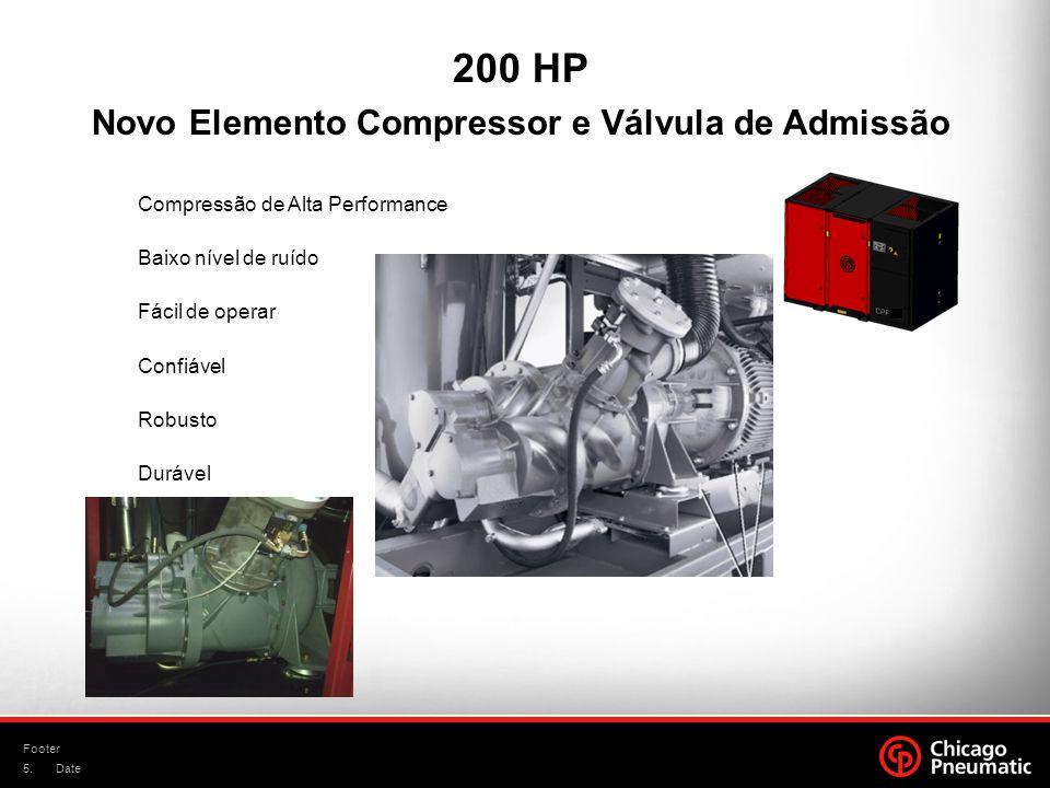 5. Footer Date Compressão de Alta Performance Baixo nível de ruído Fácil de operar Confiável Robusto Durável Novo Elemento Compressor e Válvula de Adm