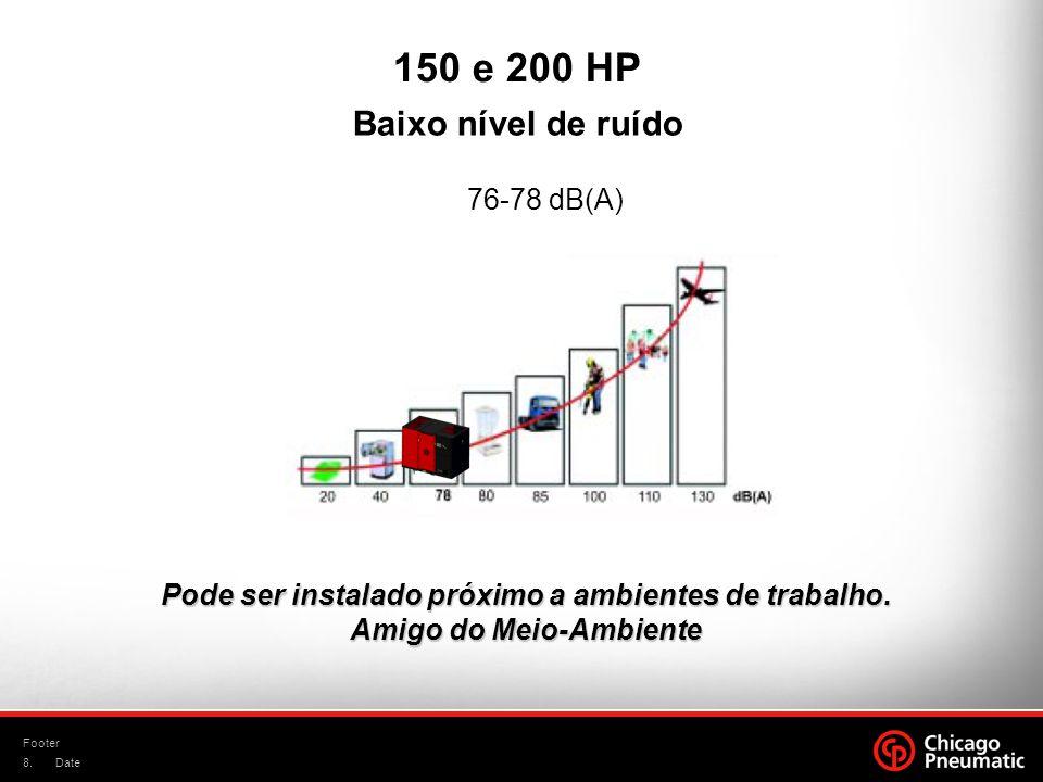8. Footer Date Baixo nível de ruído 76-78 dB(A) Pode ser instalado próximo a ambientes de trabalho. Amigo do Meio-Ambiente 150 e 200 HP