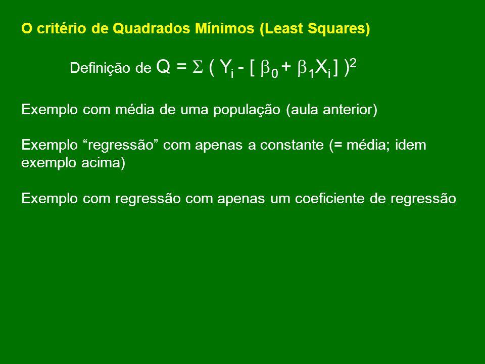 O critério de Quadrados Mínimos (Least Squares) Definição de Q = ( Y i - [ 0 + 1 X i ] ) 2 Exemplo com média de uma população (aula anterior) Exemplo