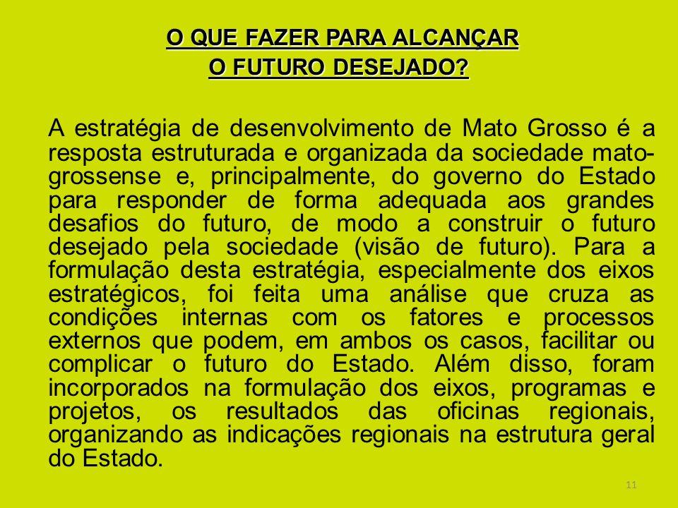 11 O QUE FAZER PARA ALCANÇAR O FUTURO DESEJADO? A estratégia de desenvolvimento de Mato Grosso é a resposta estruturada e organizada da sociedade mato