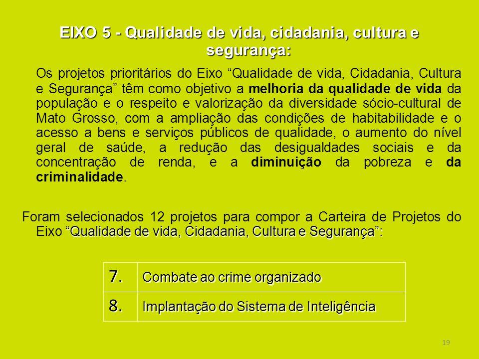 19 EIXO 5 - Qualidade de vida, cidadania, cultura e segurança: Os projetos prioritários do Eixo Qualidade de vida, Cidadania, Cultura e Segurança têm