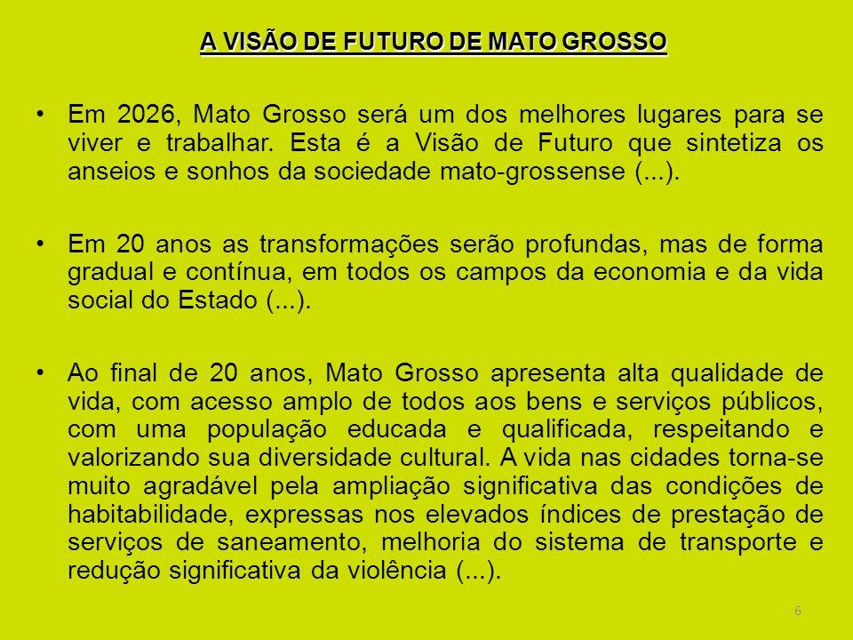 6 A VISÃO DE FUTURO DE MATO GROSSO Em 2026, Mato Grosso será um dos melhores lugares para se viver e trabalhar. Esta é a Visão de Futuro que sintetiza