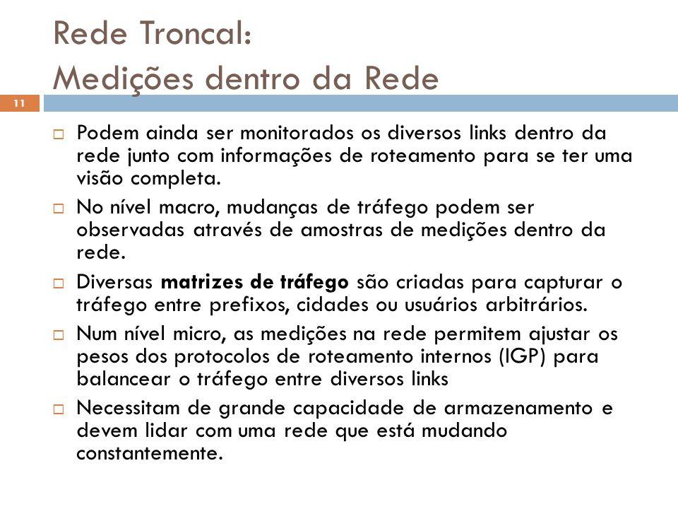 Rede Troncal: Medições dentro da Rede 11 Podem ainda ser monitorados os diversos links dentro da rede junto com informações de roteamento para se ter