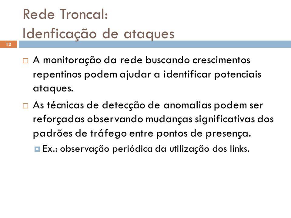 Rede Troncal: Idenficação de ataques 12 A monitoração da rede buscando crescimentos repentinos podem ajudar a identificar potenciais ataques. As técni