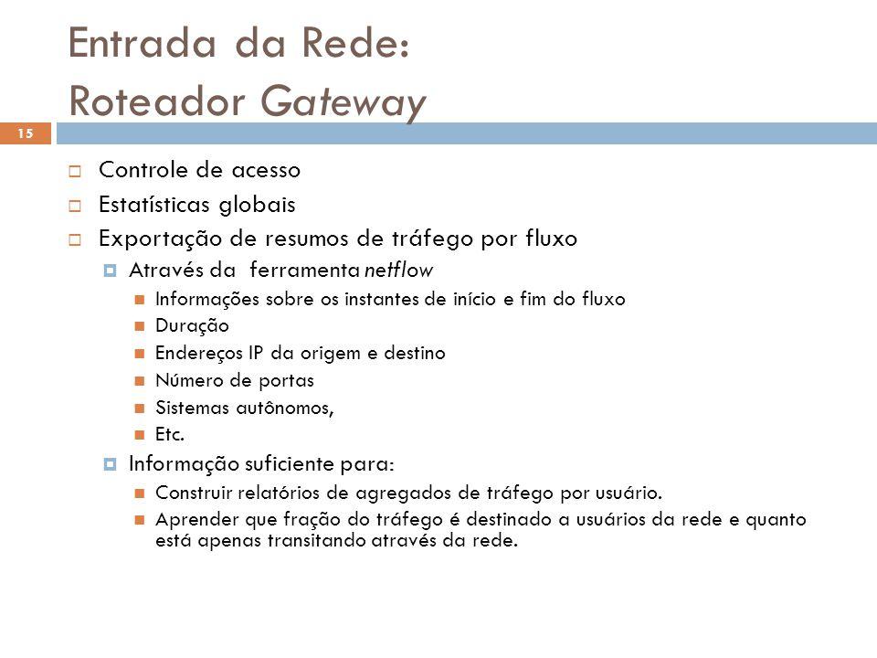 Entrada da Rede: Roteador Gateway 15 Controle de acesso Estatísticas globais Exportação de resumos de tráfego por fluxo Através da ferramenta netflow