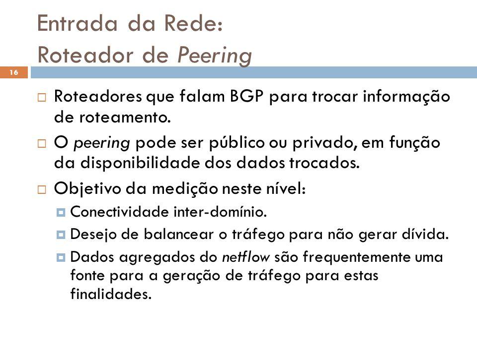 Entrada da Rede: Roteador de Peering 16 Roteadores que falam BGP para trocar informação de roteamento. O peering pode ser público ou privado, em funçã