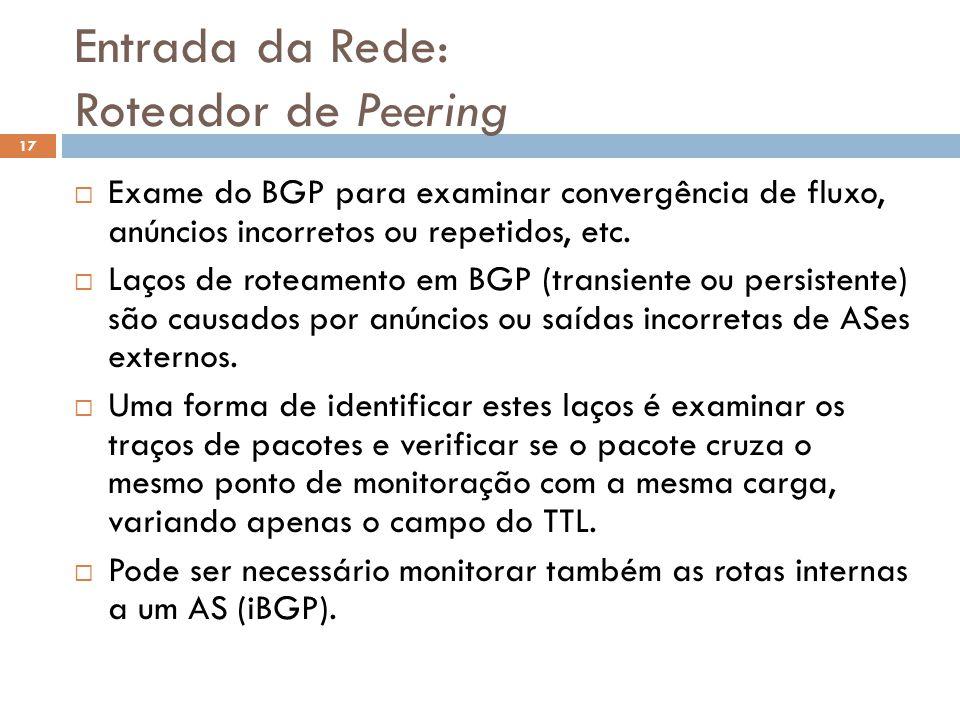 Entrada da Rede: Roteador de Peering 17 Exame do BGP para examinar convergência de fluxo, anúncios incorretos ou repetidos, etc. Laços de roteamento e