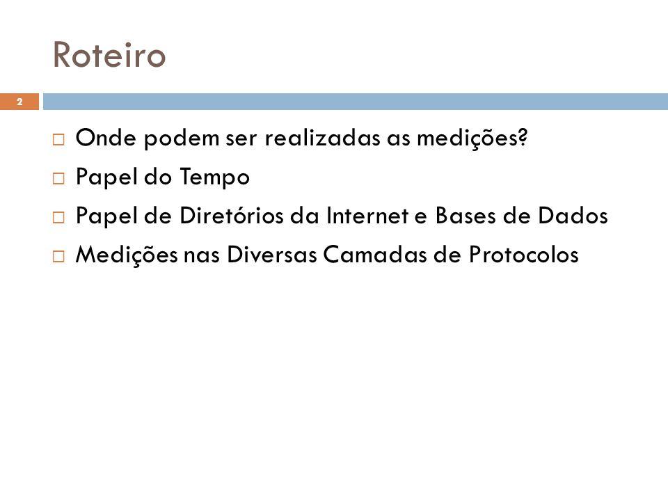 Roteiro 2 Onde podem ser realizadas as medições? Papel do Tempo Papel de Diretórios da Internet e Bases de Dados Medições nas Diversas Camadas de Prot