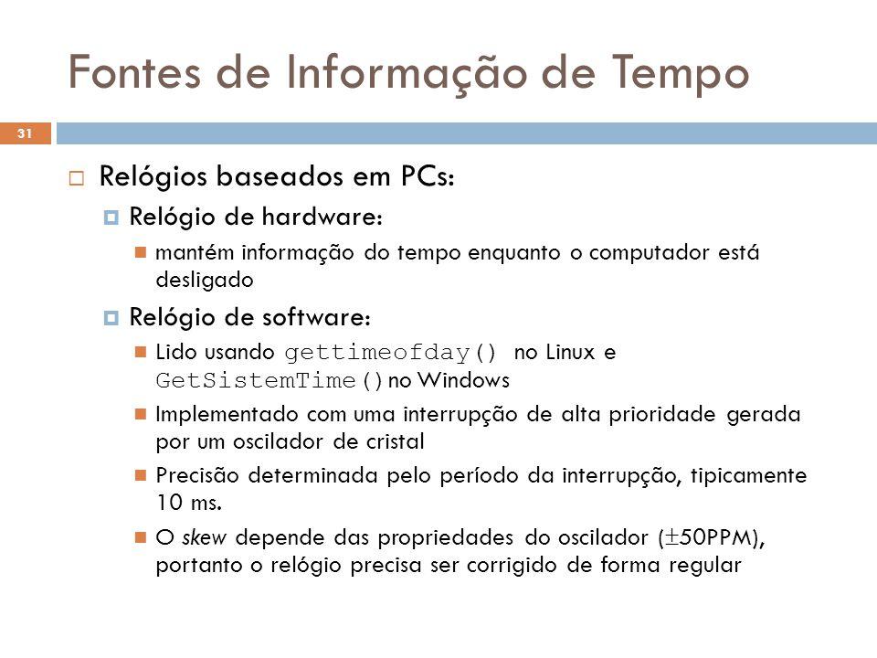 Fontes de Informação de Tempo 31 Relógios baseados em PCs: Relógio de hardware: mantém informação do tempo enquanto o computador está desligado Relógi
