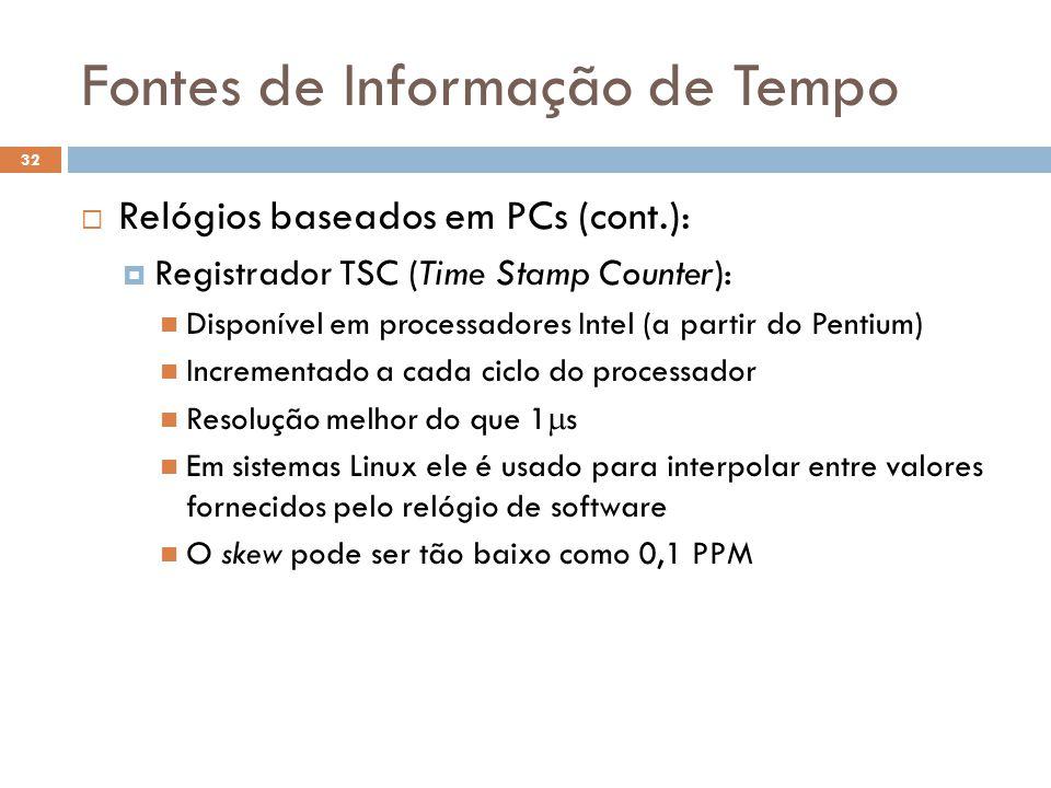 Fontes de Informação de Tempo 32 Relógios baseados em PCs (cont.): Registrador TSC (Time Stamp Counter): Disponível em processadores Intel (a partir d