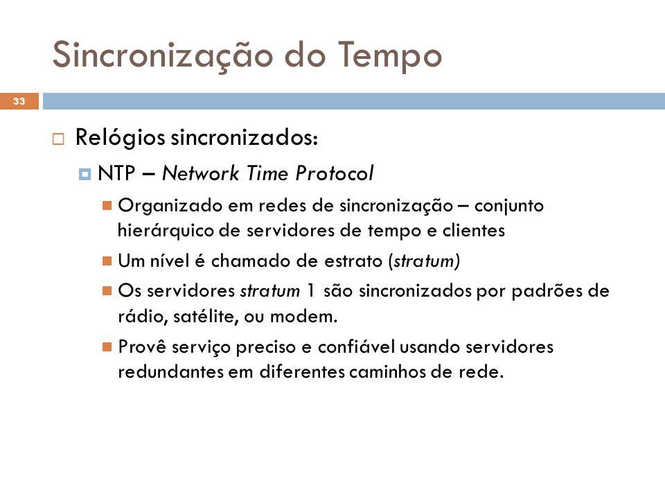 Sincronização do Tempo 33 Relógios sincronizados: NTP – Network Time Protocol Organizado em redes de sincronização – conjunto hierárquico de servidore