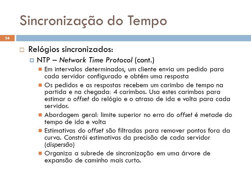 Sincronização do Tempo 34 Relógios sincronizados: NTP – Network Time Protocol (cont.) Em intervalos determinados, um cliente envia um pedido para cada
