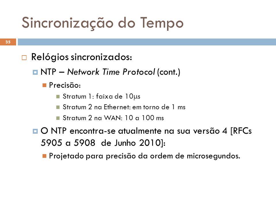 Sincronização do Tempo 35 Relógios sincronizados: NTP – Network Time Protocol (cont.) Precisão: Stratum 1: faixa de 10 s Stratum 2 na Ethernet: em tor