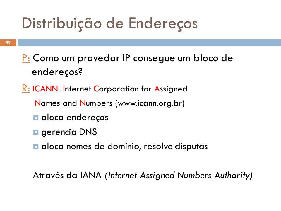 39 Distribuição de Endereços P: Como um provedor IP consegue um bloco de endereços? R: ICANN: Internet Corporation for Assigned Names and Numbers (www