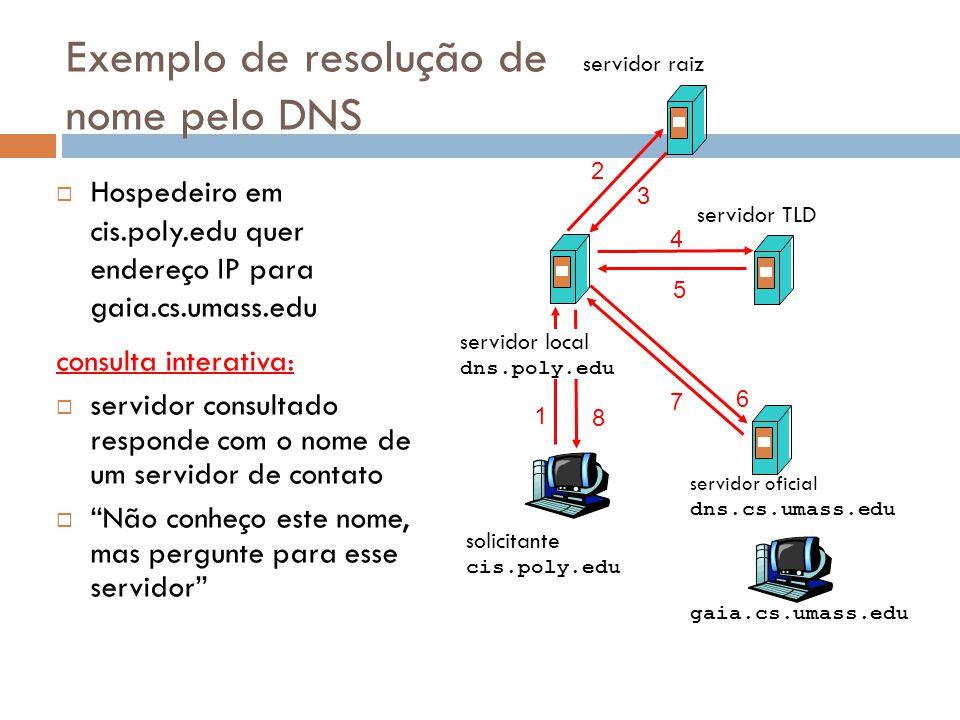48 solicitante cis.poly.edu gaia.cs.umass.edu servidor raiz servidor local dns.poly.edu 1 2 3 4 5 6 servidor oficial dns.cs.umass.edu 7 8 servidor TLD