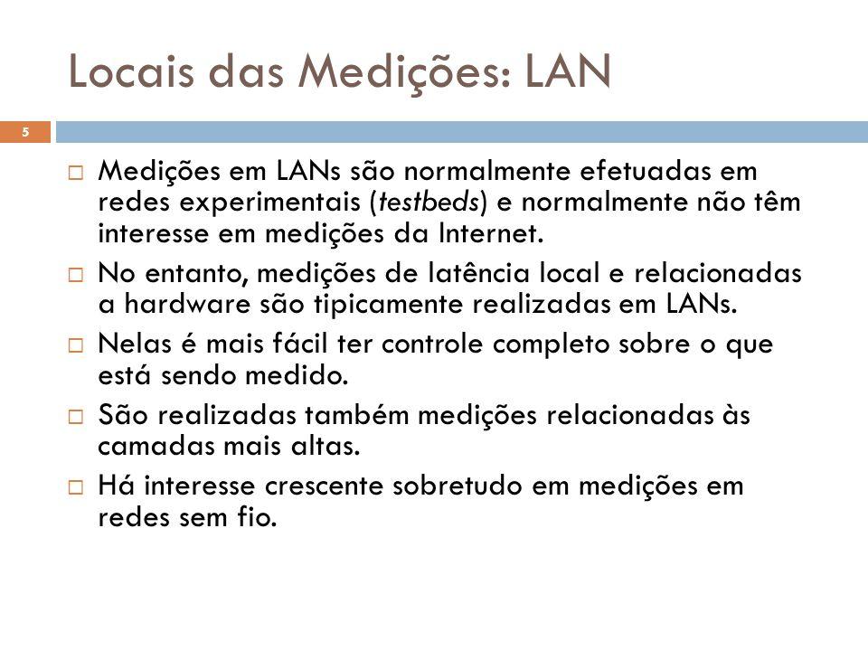 Locais das Medições: LAN Medições em LANs são normalmente efetuadas em redes experimentais (testbeds) e normalmente não têm interesse em medições da I