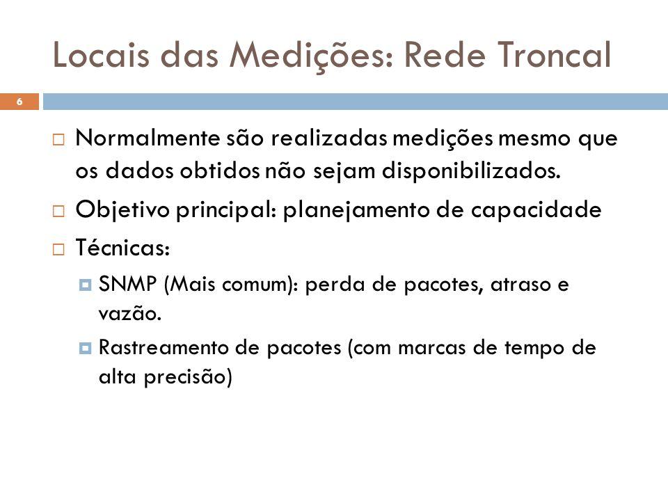 Locais das Medições: Rede Troncal Normalmente são realizadas medições mesmo que os dados obtidos não sejam disponibilizados. Objetivo principal: plane