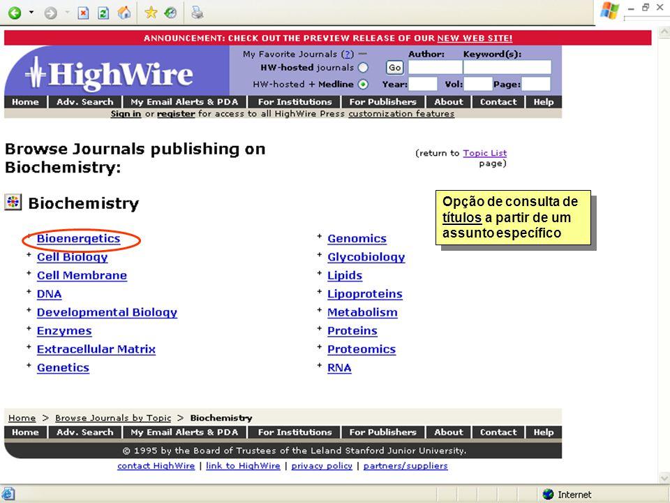 títulos Opção de consulta de títulos a partir de um assunto específico