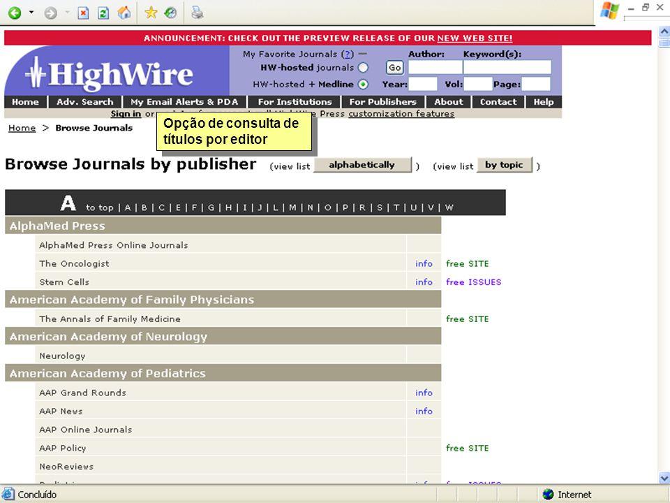 Opção de consulta de títulos por editor