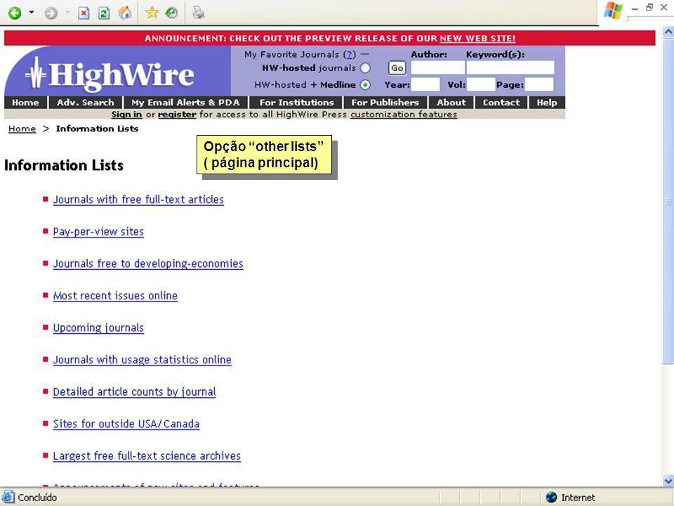Opção other lists ( página principal)