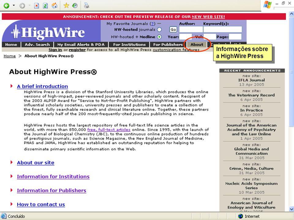 Informações sobre a HighWire Press