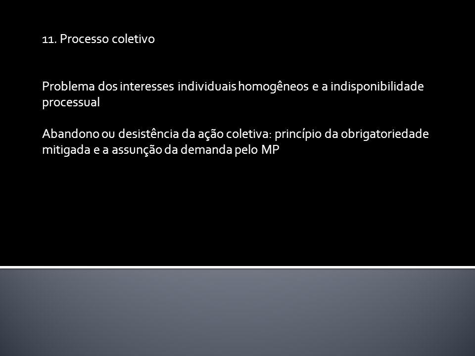 11. Processo coletivo Problema dos interesses individuais homogêneos e a indisponibilidade processual Abandono ou desistência da ação coletiva: princí