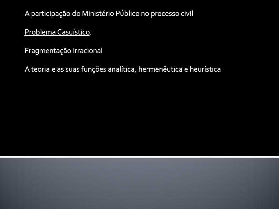 A participação do Ministério Público no processo civil Problema Casuístico: Fragmentação irracional A teoria e as suas funções analítica, hermenêutica e heurística
