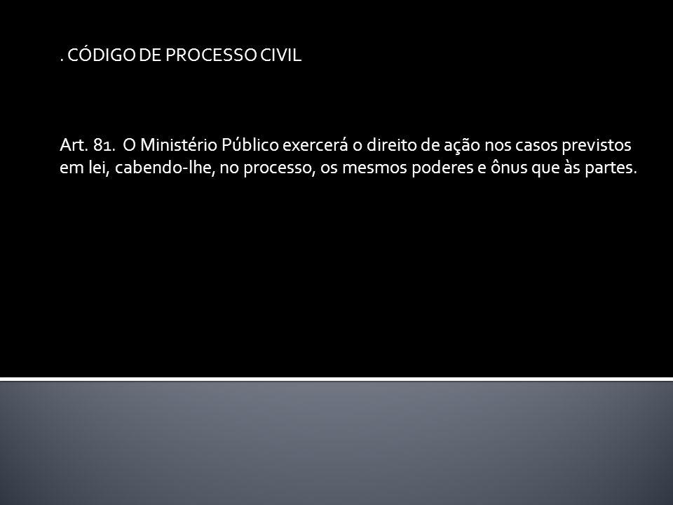 CÓDIGO DE PROCESSO CIVIL Art. 81.
