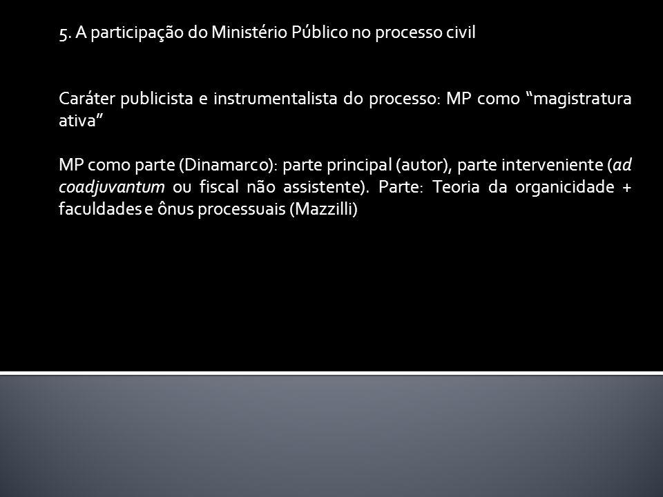 5. A participação do Ministério Público no processo civil Caráter publicista e instrumentalista do processo: MP como magistratura ativa MP como parte