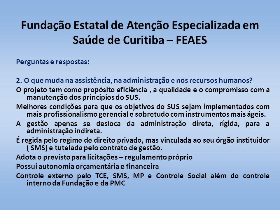 Fundação Estatal de Atenção Especializada em Saúde de Curitiba – FEAES Perguntas e respostas: 2. O que muda na assistência, na administração e nos rec