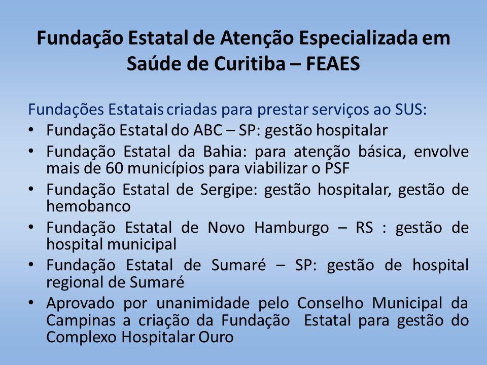 Fundação Estatal de Atenção Especializada em Saúde de Curitiba – FEAES Fundações Estatais criadas para prestar serviços ao SUS: Fundação Estatal do AB