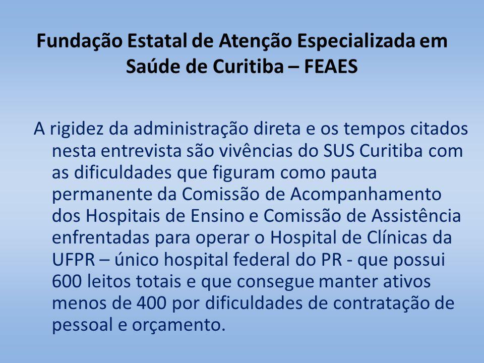 Fundação Estatal de Atenção Especializada em Saúde de Curitiba – FEAES A rigidez da administração direta e os tempos citados nesta entrevista são vivê