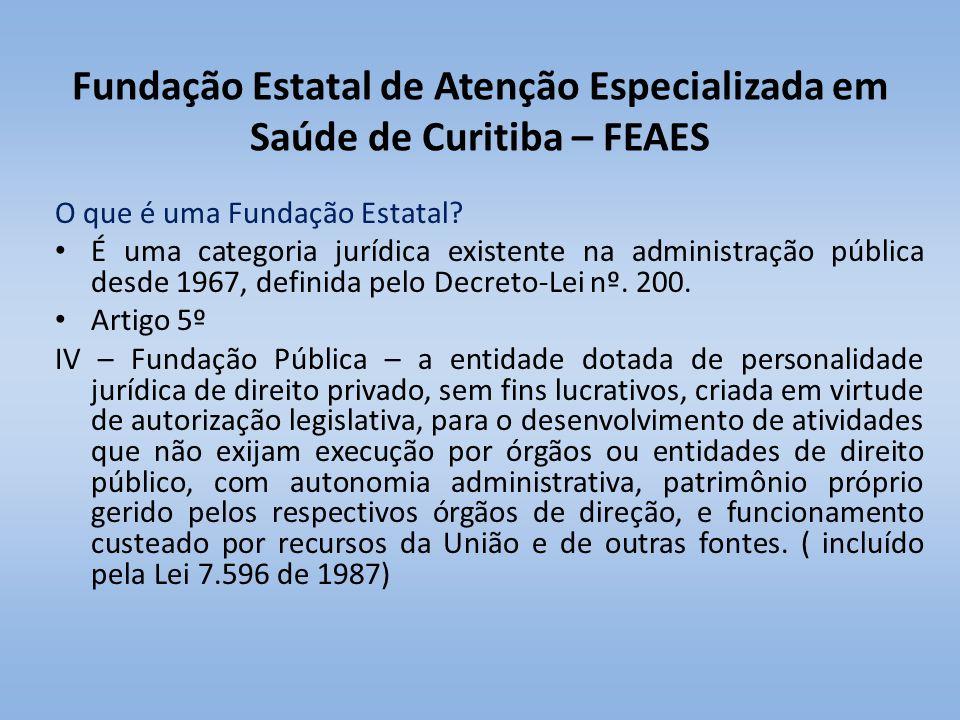 Fundação Estatal de Atenção Especializada em Saúde de Curitiba – FEAES O que é uma Fundação Estatal? É uma categoria jurídica existente na administraç