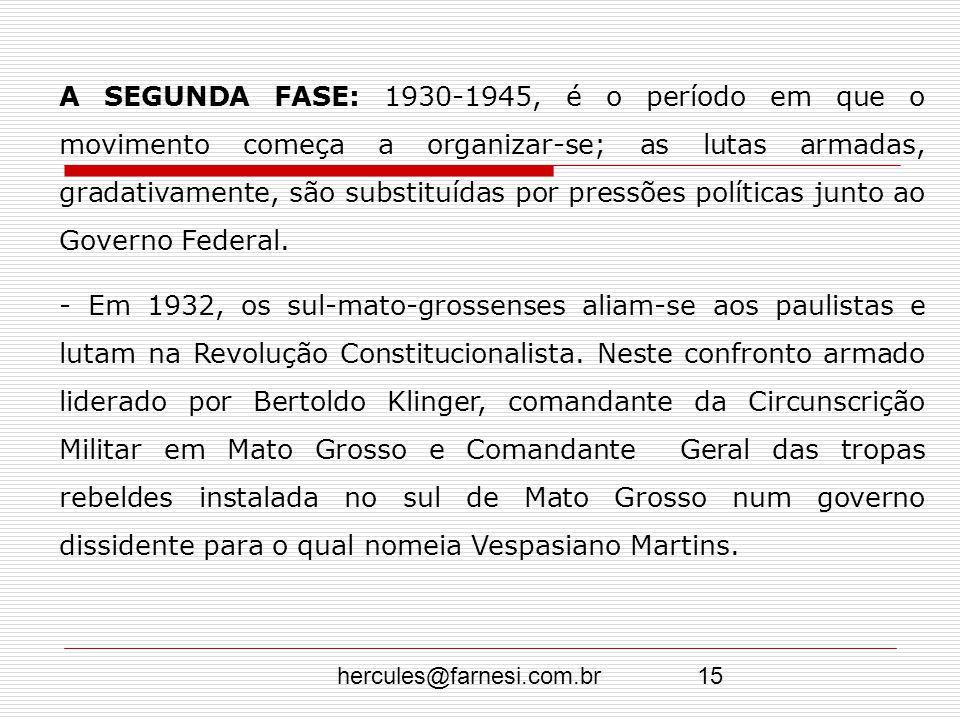 hercules@farnesi.com.br15 A SEGUNDA FASE: 1930-1945, é o período em que o movimento começa a organizar-se; as lutas armadas, gradativamente, são subst