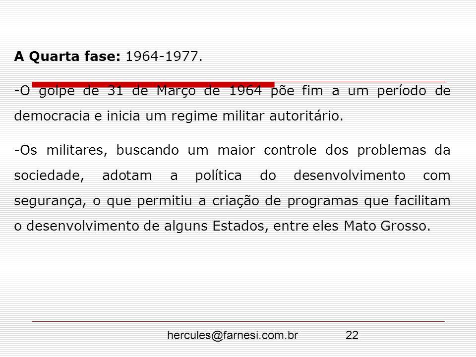hercules@farnesi.com.br22 A Quarta fase: 1964-1977. -O golpe de 31 de Março de 1964 põe fim a um período de democracia e inicia um regime militar auto