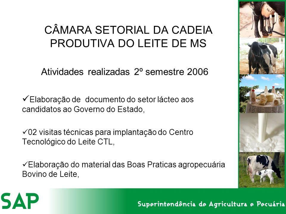 CÂMARA SETORIAL DA CADEIA PRODUTIVA DO LEITE DE MS Atividades realizadas 2º semestre 2006 Elaboração de documento do setor lácteo aos candidatos ao Go