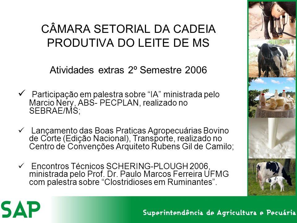 CÂMARA SETORIAL DA CADEIA PRODUTIVA DO LEITE DE MS Atividades extras 2º Semestre 2006 Participação em palestra sobre IA ministrada pelo Marcio Nery, ABS- PECPLAN, realizado no SEBRAE/MS; Lançamento das Boas Praticas Agropecuárias Bovino de Corte (Edição Nacional), Transporte, realizado no Centro de Convenções Arquiteto Rubens Gil de Camilo; Encontros Técnicos SCHERING-PLOUGH 2006, ministrada pelo Prof.