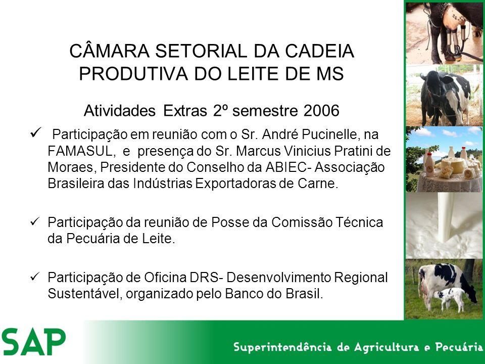 CÂMARA SETORIAL DA CADEIA PRODUTIVA DO LEITE DE MS Atividades Extras 2º semestre 2006 Participação em reunião com o Sr. André Pucinelle, na FAMASUL, e