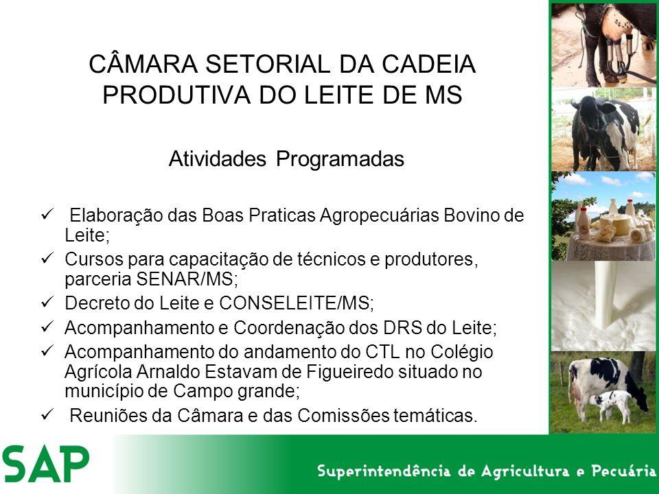 CÂMARA SETORIAL DA CADEIA PRODUTIVA DO LEITE DE MS Atividades Programadas Elaboração das Boas Praticas Agropecuárias Bovino de Leite; Cursos para capacitação de técnicos e produtores, parceria SENAR/MS; Decreto do Leite e CONSELEITE/MS; Acompanhamento e Coordenação dos DRS do Leite; Acompanhamento do andamento do CTL no Colégio Agrícola Arnaldo Estavam de Figueiredo situado no município de Campo grande; Reuniões da Câmara e das Comissões temáticas.