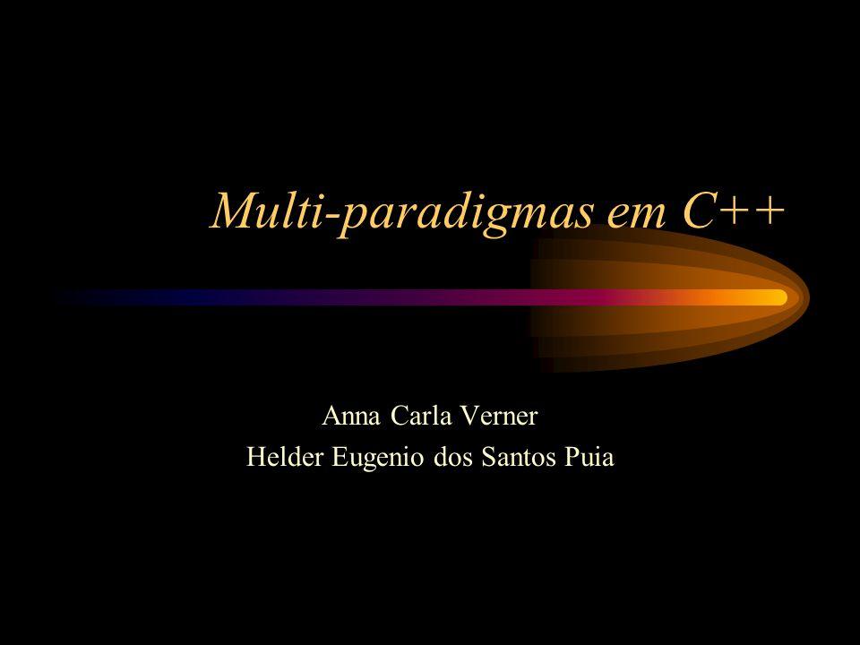 Multi-paradigmas em C++ Anna Carla Verner Helder Eugenio dos Santos Puia