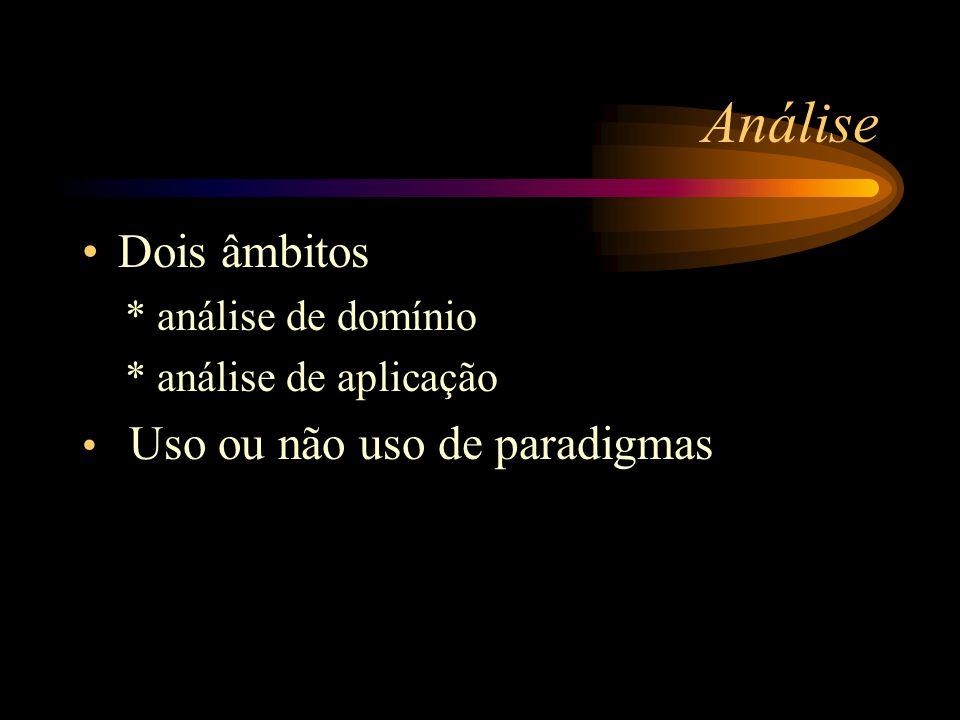 Análise Dois âmbitos * análise de domínio * análise de aplicação Uso ou não uso de paradigmas