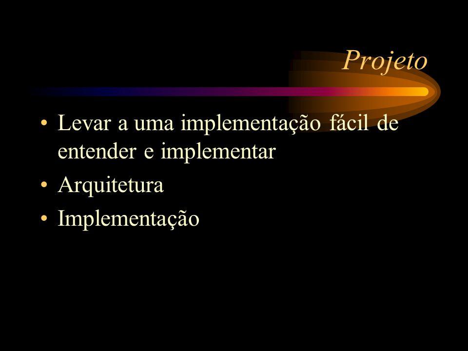 Projeto Levar a uma implementação fácil de entender e implementar Arquitetura Implementação