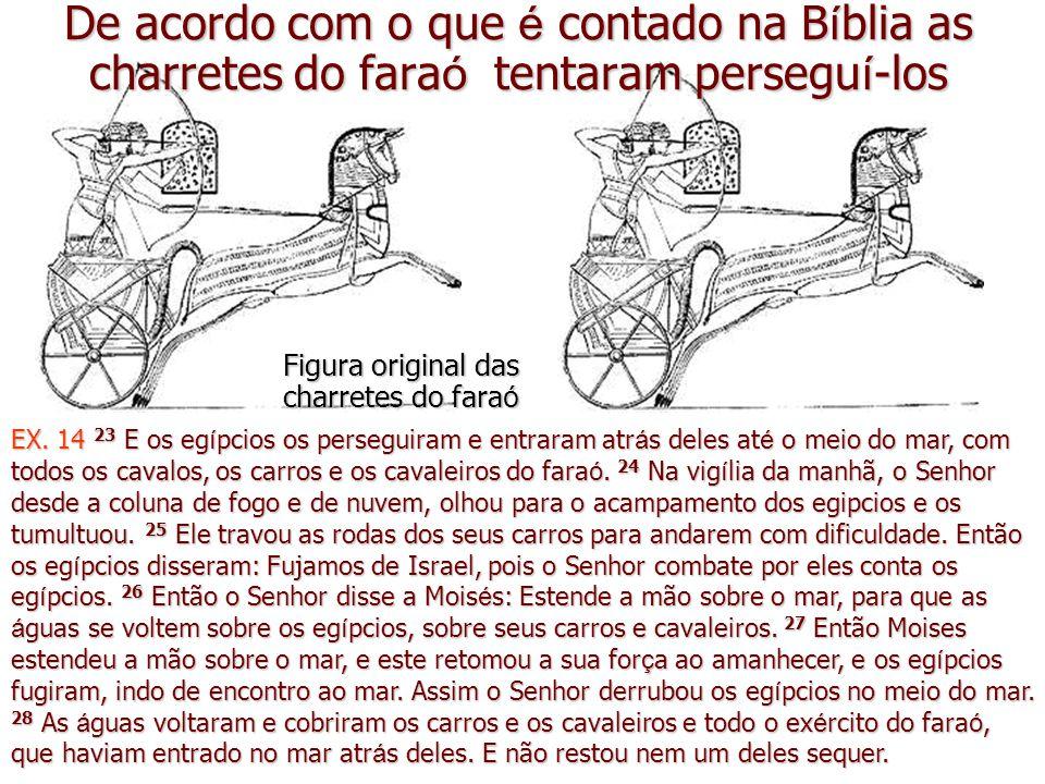 De acordo com o que é contado na B í blia as charretes do fara ó tentaram persegu í -los Figura original das charretes do fara ó EX.