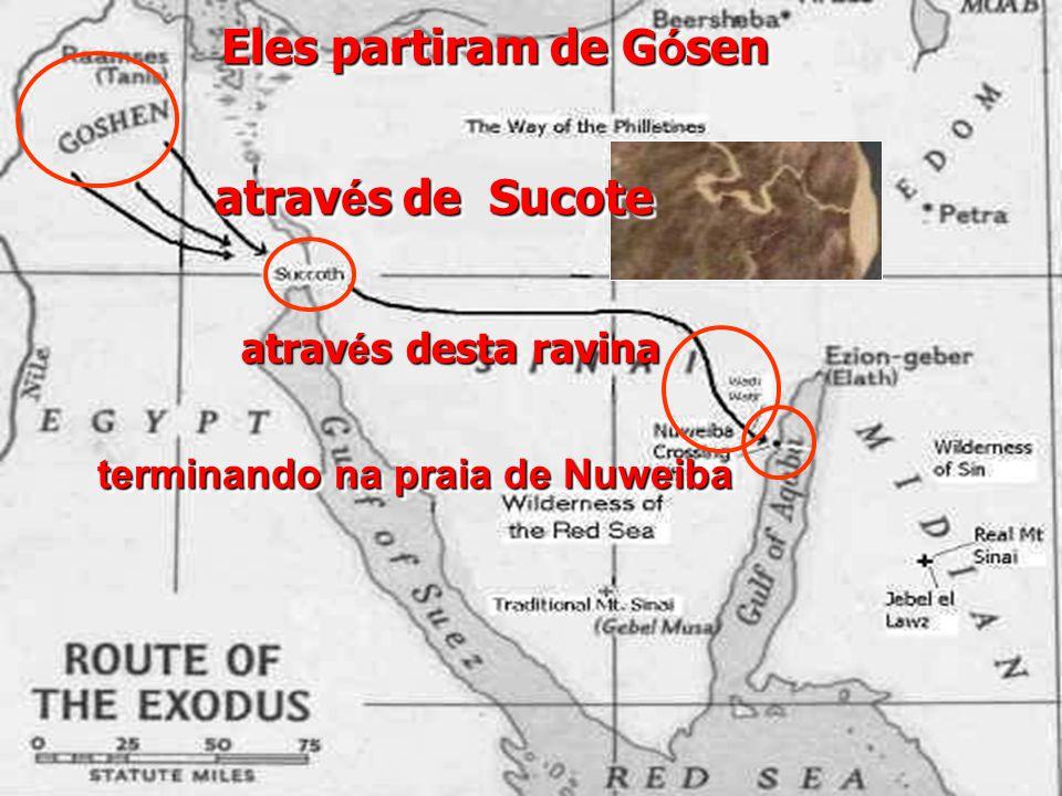 Eles partiram de G ó sen terminando na praia de Nuweiba atrav é s de Sucote atrav é s desta ravina