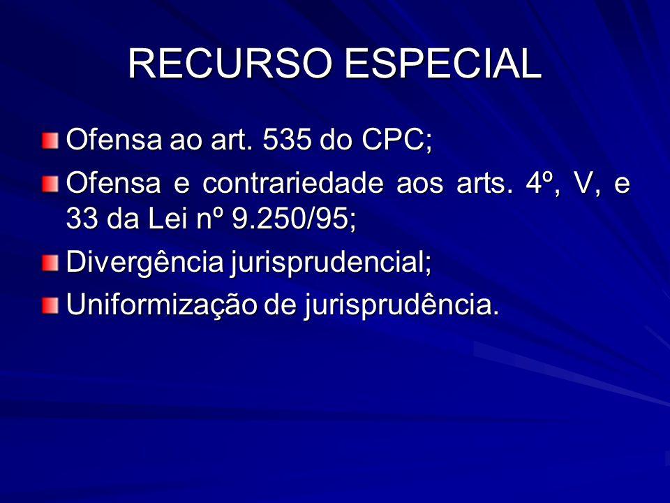 RECURSO ESPECIAL Ofensa ao art. 535 do CPC; Ofensa e contrariedade aos arts. 4º, V, e 33 da Lei nº 9.250/95; Divergência jurisprudencial; Uniformizaçã