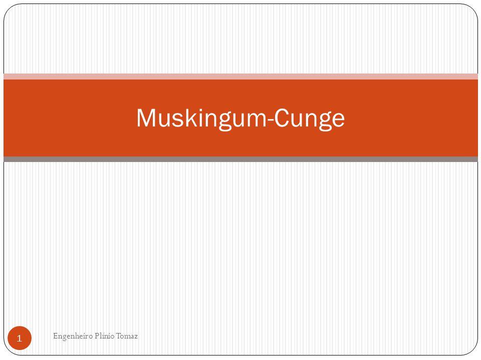 Muskingum-Cunge Engenheiro Plínio Tomaz 12 D= K (1-x) + t/2 D= 30,4(1-0,35) + 60/2=49,76 C 1 = (K.x +t/2) / D = (30,4 x 0,35 + 60/2)/ D= 40,64/49,76= 0,816 C 2 = ( t/2 – K.x)/ D= (60/2 – 30,4 x 0,35)/ 49,76= 0,389 C 3 = [K (1-x)-t/2] / D= [30,4 (1-0,35) – 60/2] / 49,76 =-0,205 C 4 = q.t.x / D = 0 x 60 x 6000/ 49,76= 0 C 1 + C 2 +C 3 = 0,816+0,389-0,205=1,000 OK
